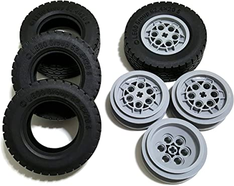 Lego wheel and tire lot of 40 gray rims