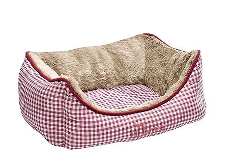 HUNTER Perro sofá Astana con Peluche, pequeñas, 60 x 45 cm, Color Rojo