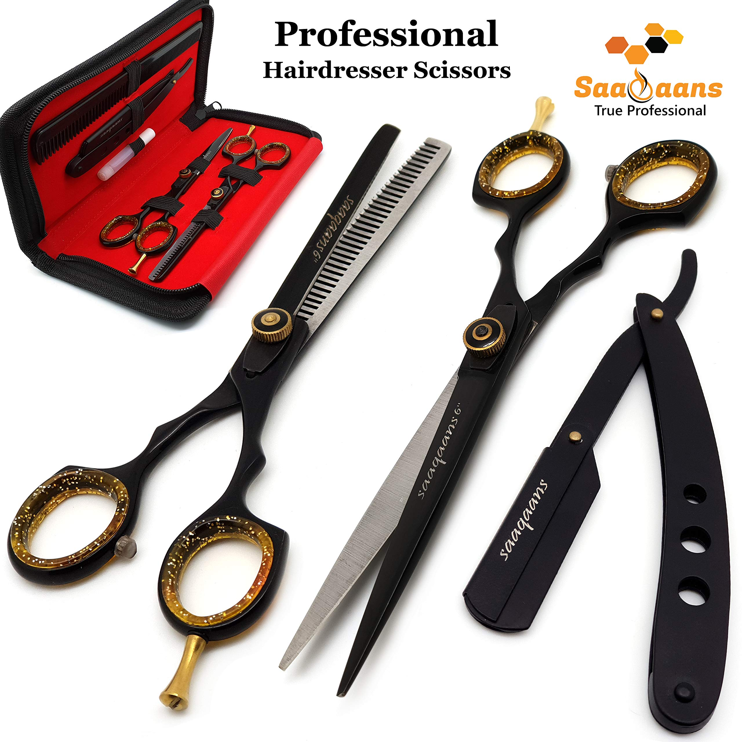 Saaqaans QSS-06 Professional Hair Cutting Scissors Set - Package includes Barber Hairdresser Scissor + Texture Thinning Shear + Straight Shaving Razor + 10 x Blades in Stylish Case/Pouch (Black) by Saaqaans