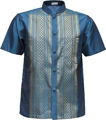 Camisa de Manga Corta de Seda Mandarín Band Collar de Manga Corta para Hombres: Amazon.es: Ropa y accesorios