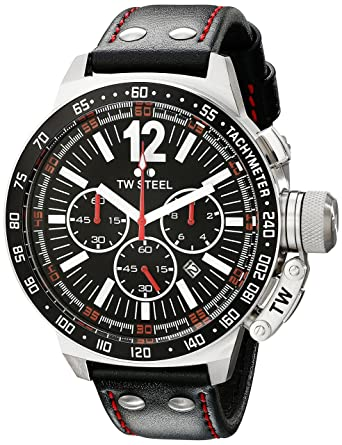 TW Steel Mens CE1016 CEO Canteen Black Leather Chronograph Dial Watch