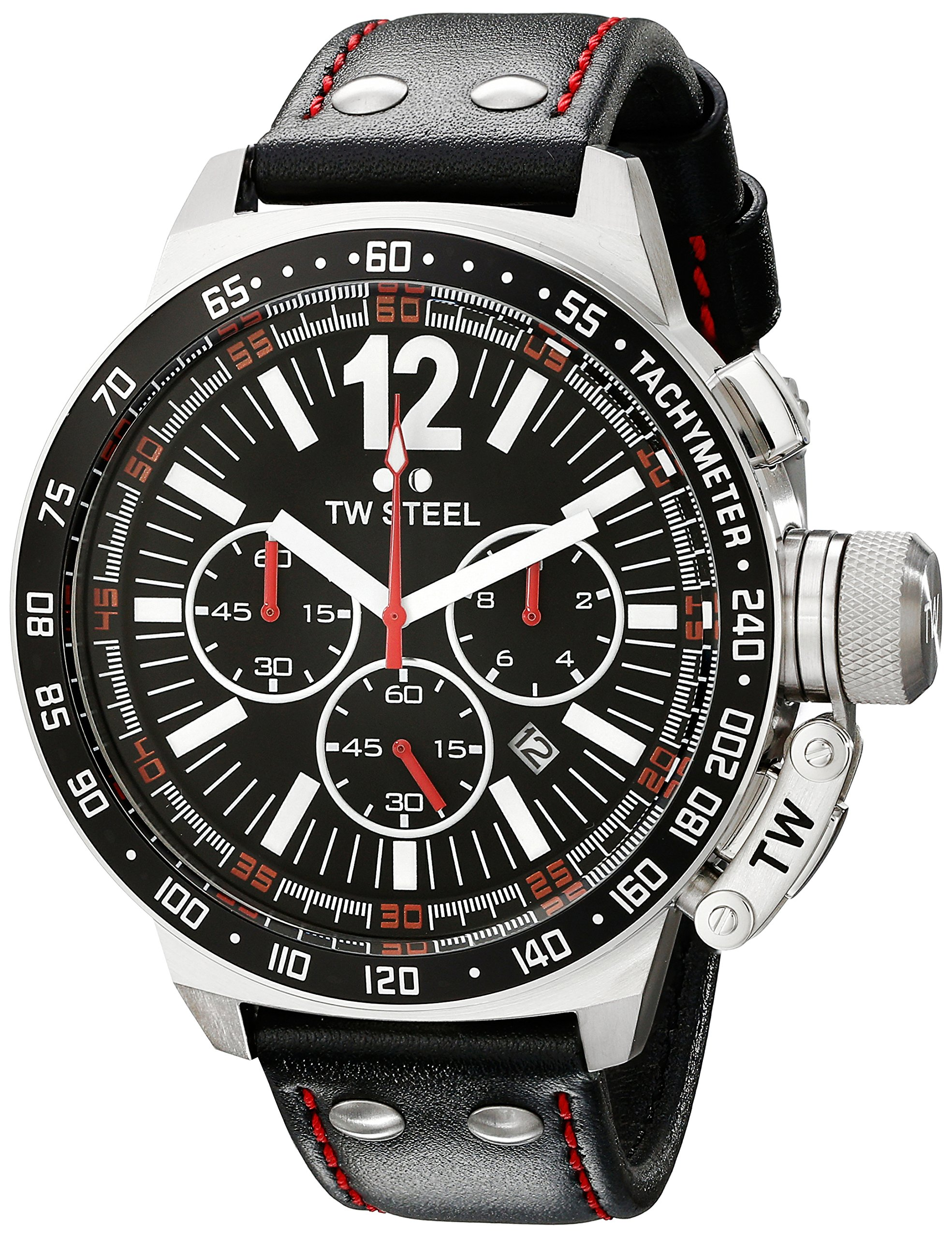 TW Steel Men's CE1016 CEO Canteen Black Leather Chronograph Dial Watch