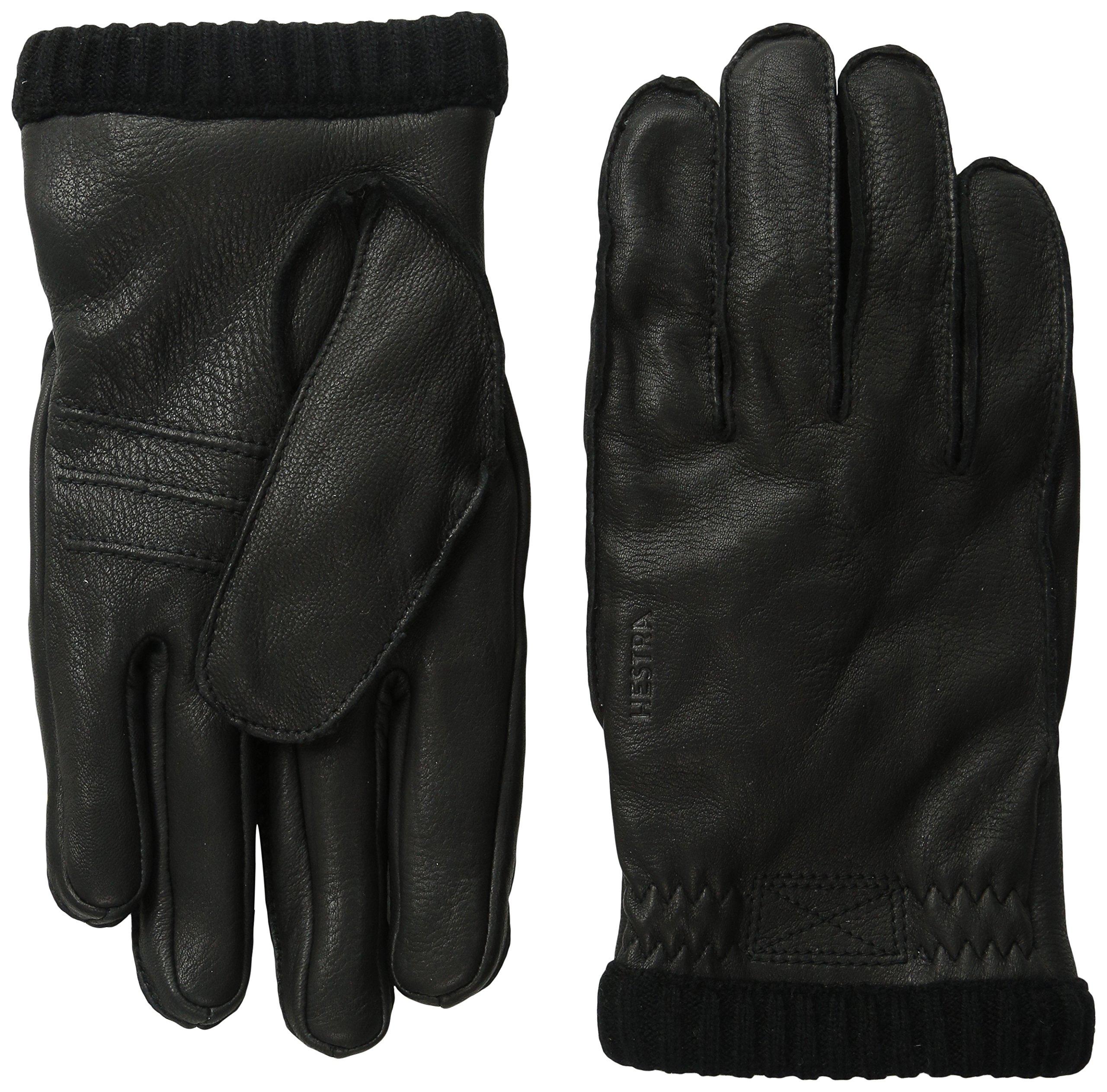 Hestra Deerskin Primaloft Rib Gloves, Black, 10