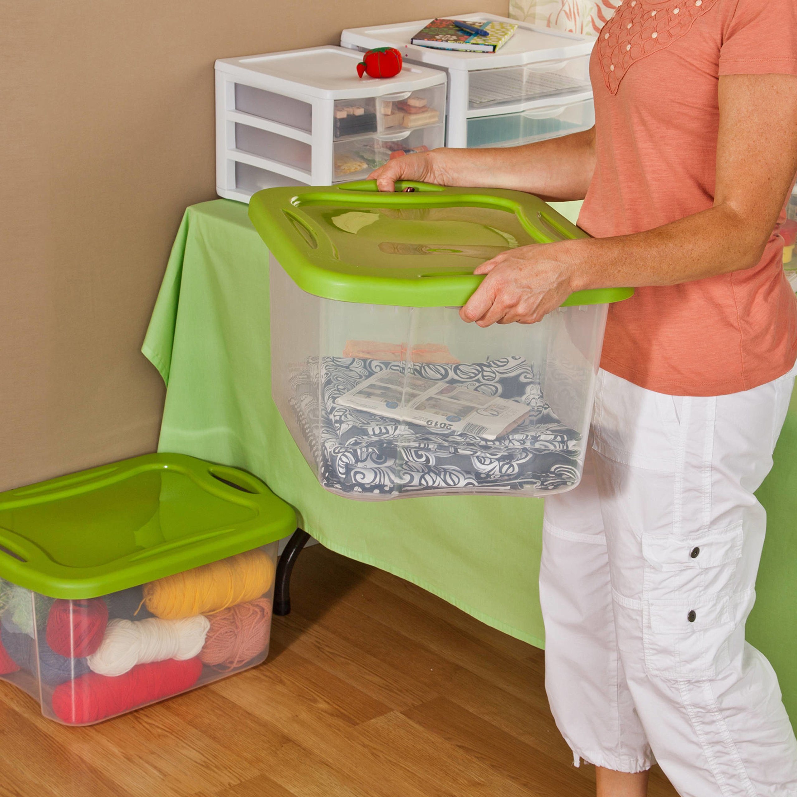 See-Through Base 40 Quart Green Storage Container Boxes, Case of 6