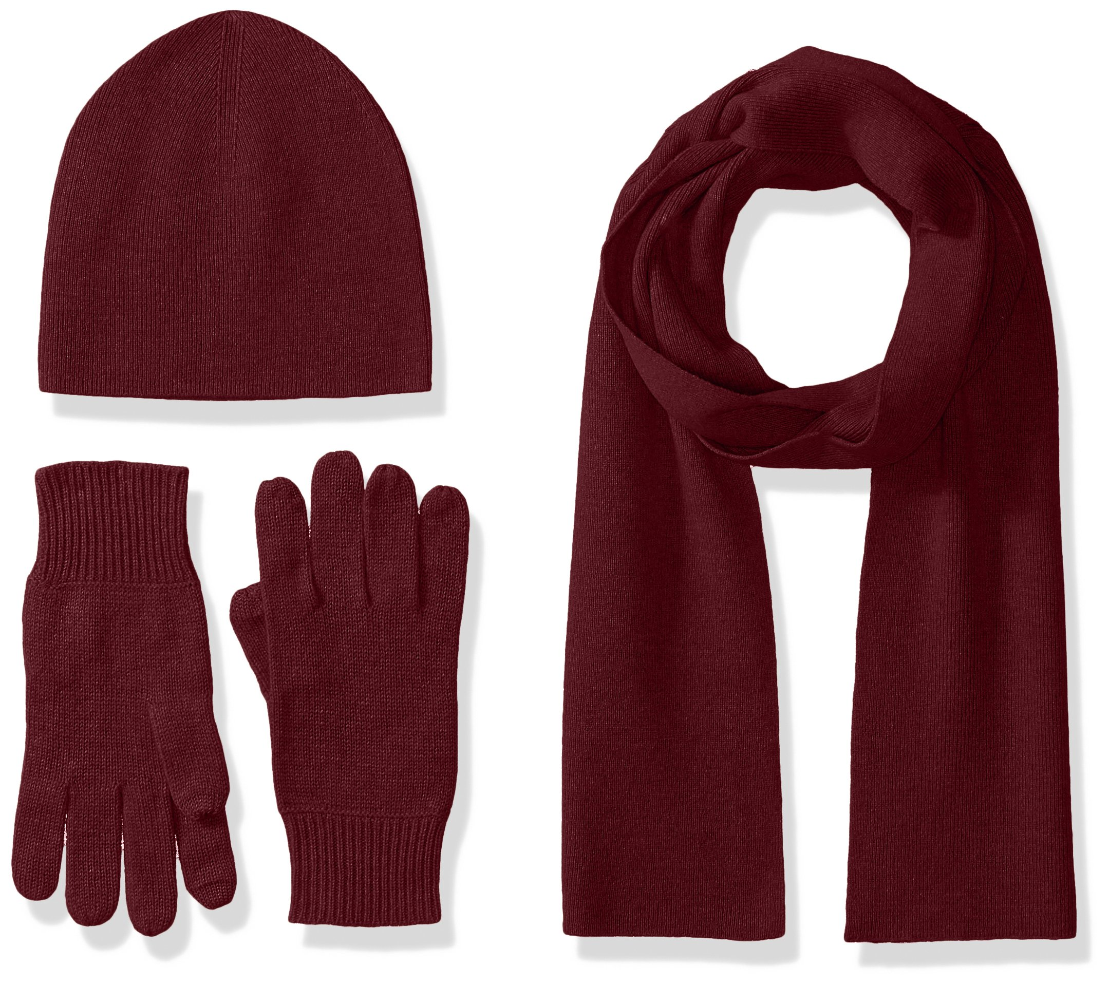 Williams Cashmere Men's 3pc Value Gift Box Set - Men's Texting Gloves, Hat, & Scarf, wine, One Size