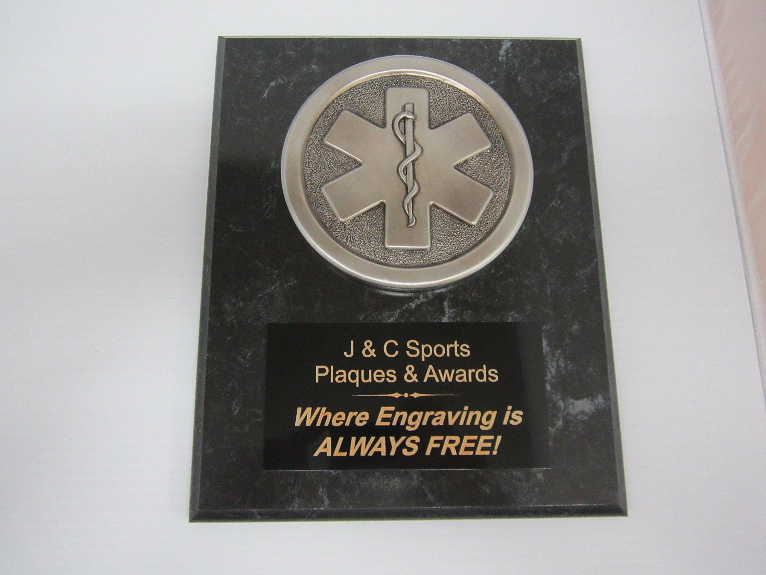 EMS EMT Paramedic Award Silver Plaque 8''x10'' FREE CUSTOM ENGRAVING Black Marble Finish w/Plaque Mount