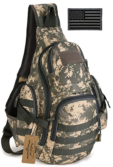 ArcEnCiel Tactical Sling Pack Backpack Military Shoulder Chest Bag with  Patch (ACU Camouflage) 0d93089a3