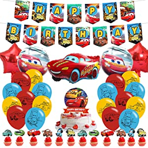 The Cars Lightning McQueen birthday party supplies,Birthday Party Supplies for Lightning McQueen for kids with happy birthday banner,cake topper ,balloons for Lightning Mcqueen theme birthday party decorations