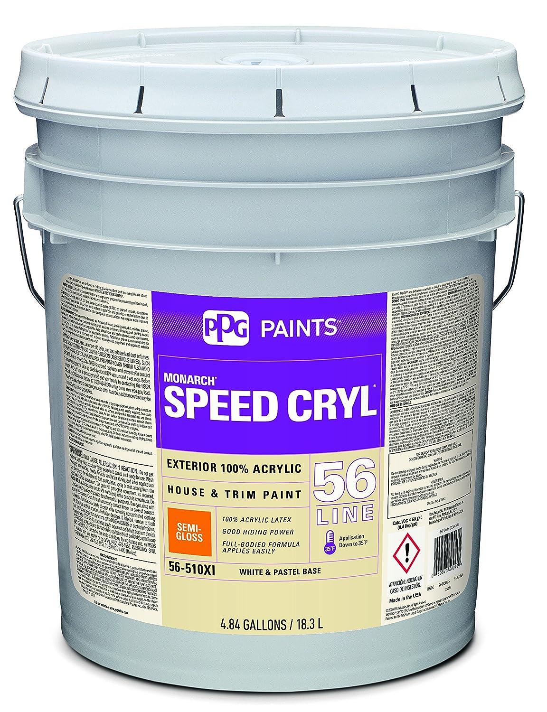 Acrylic Paint, White, Semi-Gloss, 5 gal, Speed Cryl