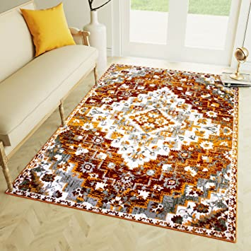 Amazon Com 3 X 5 Area Rug Burnt Orange Southwestern Diamond Rug For
