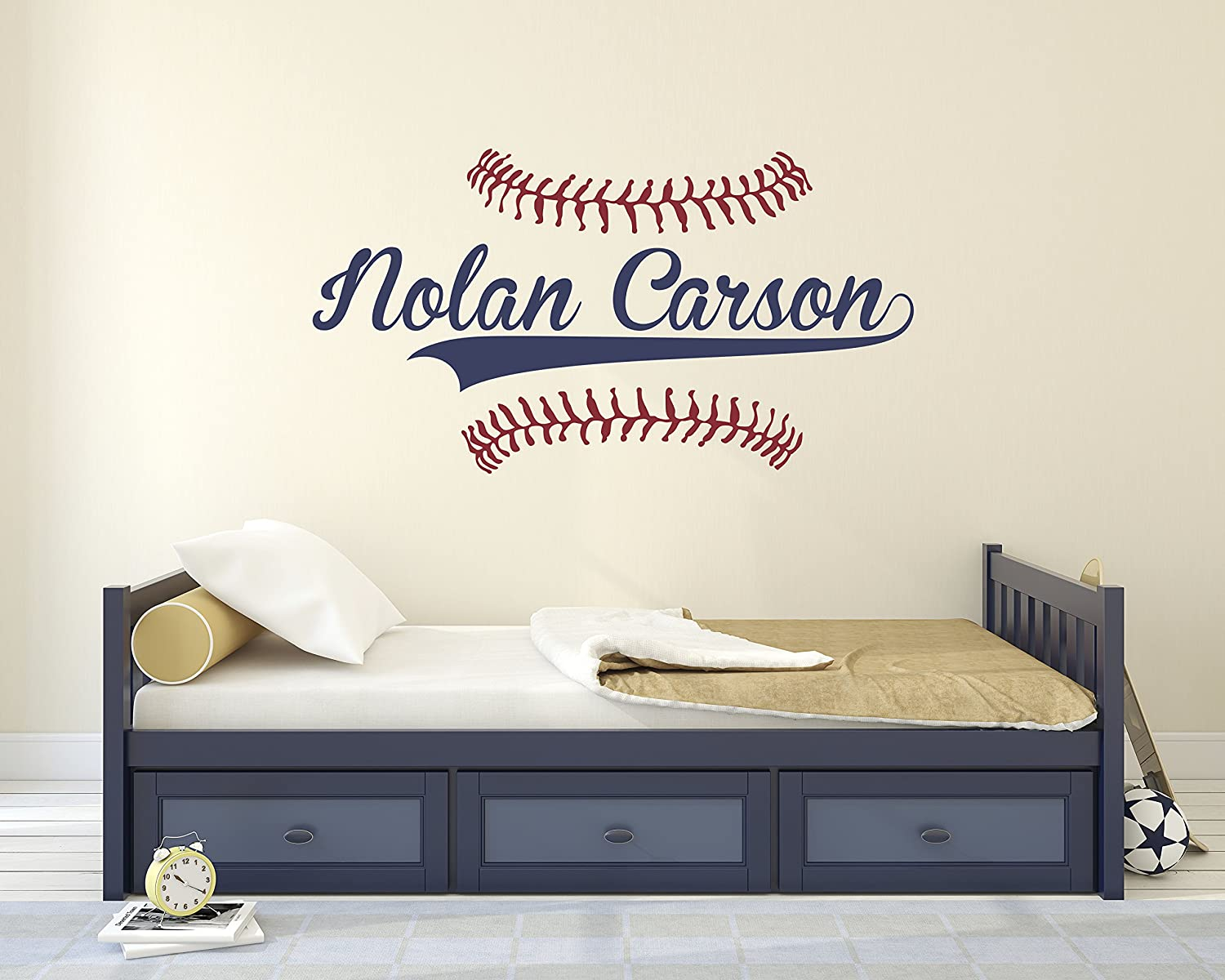 Personalized Name Baseball Wall Decal - Bedroom Wall Decals - Nursery Wall  Decals - Boys...