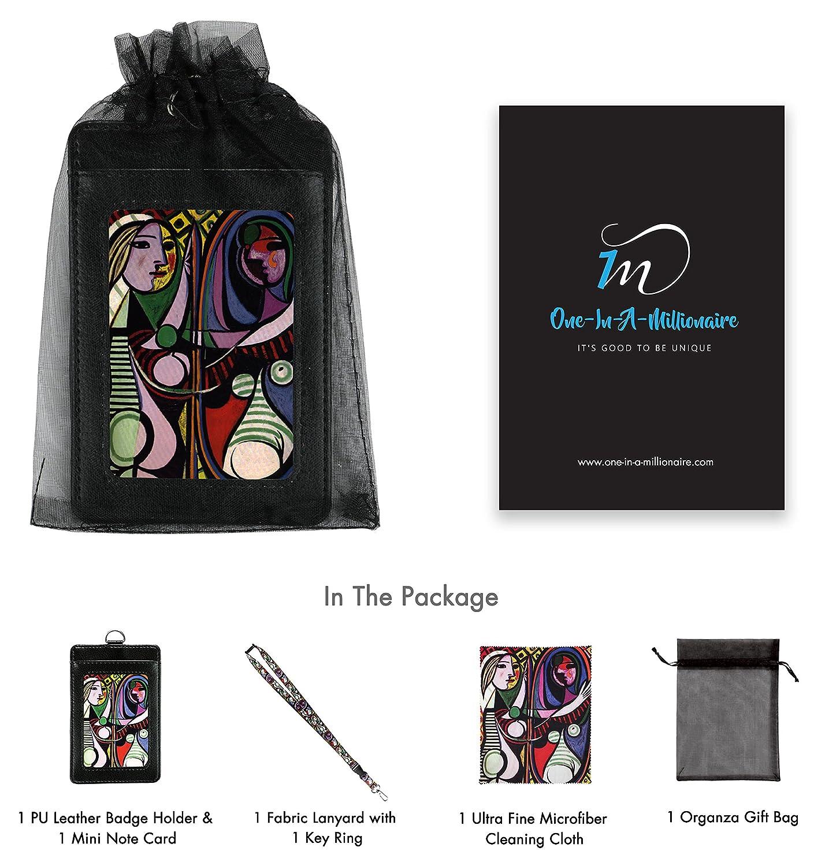 Midnight Blue Floral Lanyard con porta badge in pelle PU con 3 tasche per schede clip di sicurezza Torcia portachiavi moschettone.