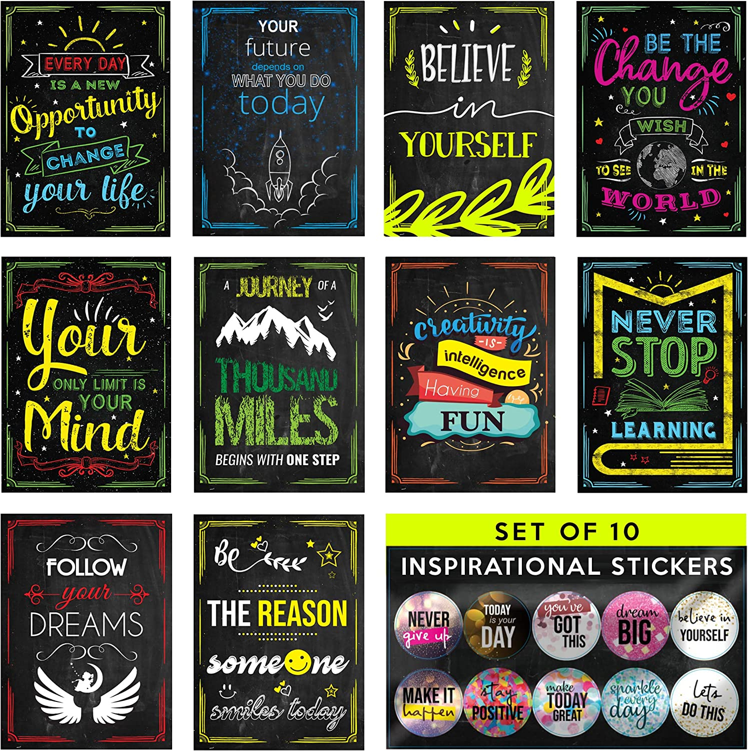 HappyPoster Inspirational Wall Art with Stickers! 10 Motivational Posters for Classroom Decorations, Home, Office Decor, College Dorm, Library Poster Set. School Supplies Positive Quotes Wall Decor