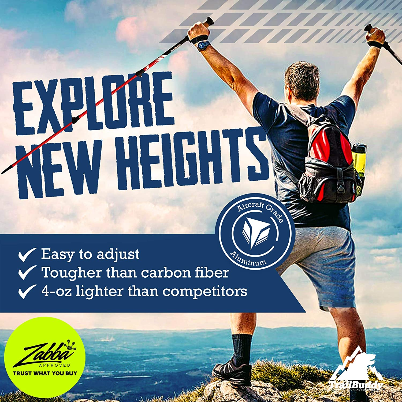 TrailBuddy Lightweight Trekking Poles - 2-pc Pack Adjustable Hiking or Walking Sticks - Strong Aircraft Aluminum - Quick Adjust Flip-Lock - Cork Grip, Padded Strap (Lake Blue) : Sports & Outdoors