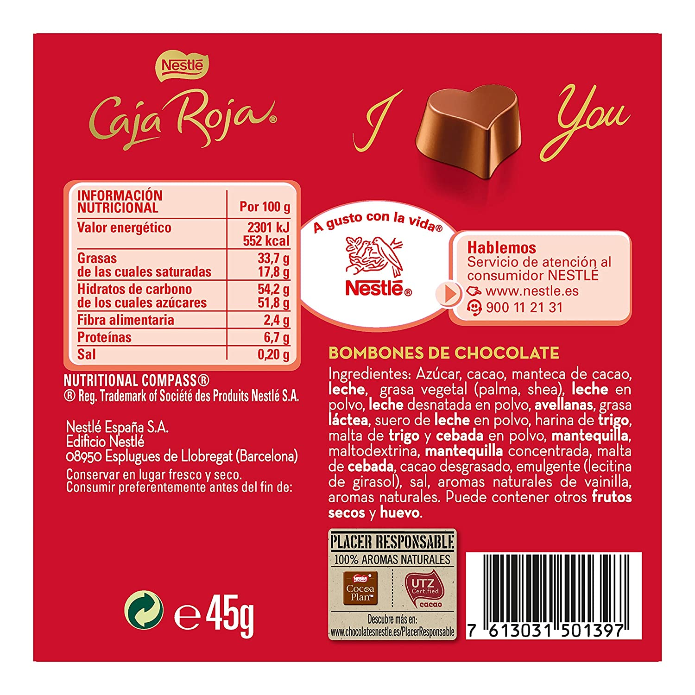 NESTLÉ CAJA ROJA Bombones de Chocolate - Escuche de bombones 45 g