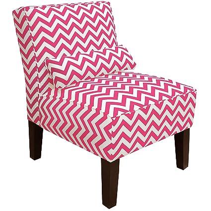 Amazon.com: Skyline Furniture Armless Chair, Zig Zag Candy Pink ...