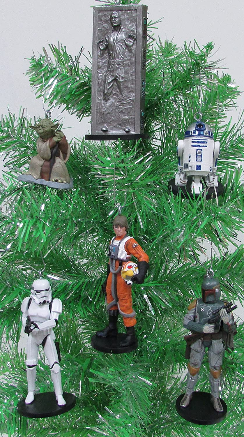 Star Wars The Empire Strikes Back 6 Piece Holiday Christmas Ornament Set Featuring Yoda Han Luke and Boba Fett Shatterproof Plastic Ornaments Range from 2 to 4 Tall Stormtrooper R2-D2
