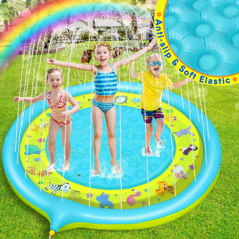 170CM Anti-Rutsch Kinder Wasser Sprinkle Pad Sommer Garten Gro/ßes Wasserspielmatte Tiermotiv Splash Play Matte f/ür Familie Aktivit/äten//Party//Strand//Garten Dookey Splash Pad Yellow