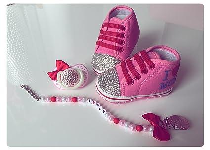 Lujo Zapatos de Bebé, Chupete y cadena con brillantes, diseño de ...