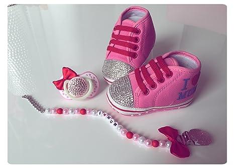 Lujo Zapatos de Bebé, Chupete y cadena con brillantes ...