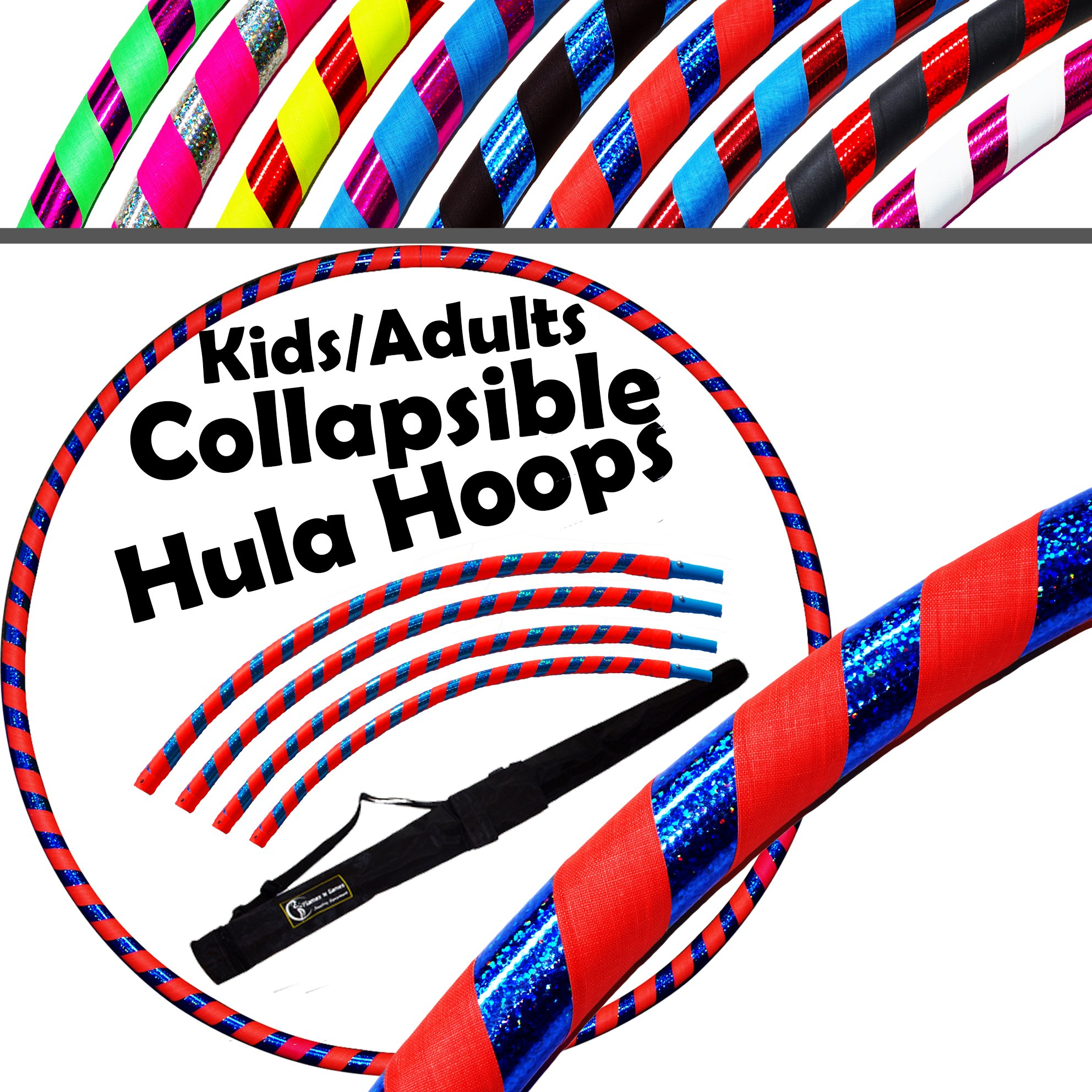 PRO Kids Hula Hoops COLLAPSIBLE (Ultra-Grip/Glitter Deco) Hula Hoop + Carry Bag! (85cm/33.5'') Hoola Hoops For Exercise, Dance & Fitness! (600g / 21.2oz) (Orange / Blue Glitter)