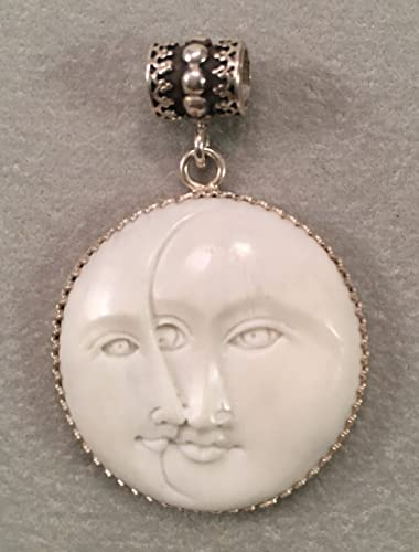Amazon Com A Double Moon Face Pendant Made Of Carved Bone Handmade