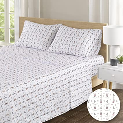 100% Hypoallergenic Cotton Sheets Set   Soft French Bulldog Twin Bed Sheet  With Deep Pocket