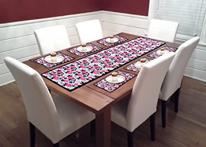 Reliable Trends Table Runner with Placemats for 6 Seater Dining Table (Rose)