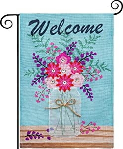 hogardeck Welcome Spring Garden Flag, Premium Burlap Spring Decor with Flower Vase, Vertical Double Sided Seasonal Yard Flag, Outdoor Indoor Patio Rustic Home Decor, 12.5x18 Inch