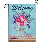 hogardeck Welcome Spring Garden Flag, Premium Burlap Spring Decor with Flower Vase, Vertical Double Sided Seasonal Yard Flag,