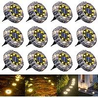 WOWDSGN 8 LED IP65 Luz de suelo solar a prueba de agua al aire libre para jardín, patio, césped, estanque y decoración…