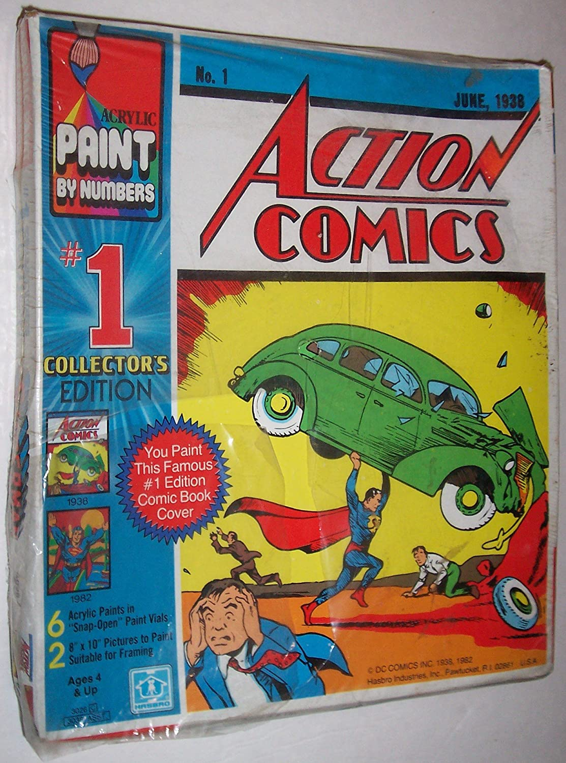 amazon com hasbro acrylic paint by numbers dc action comics