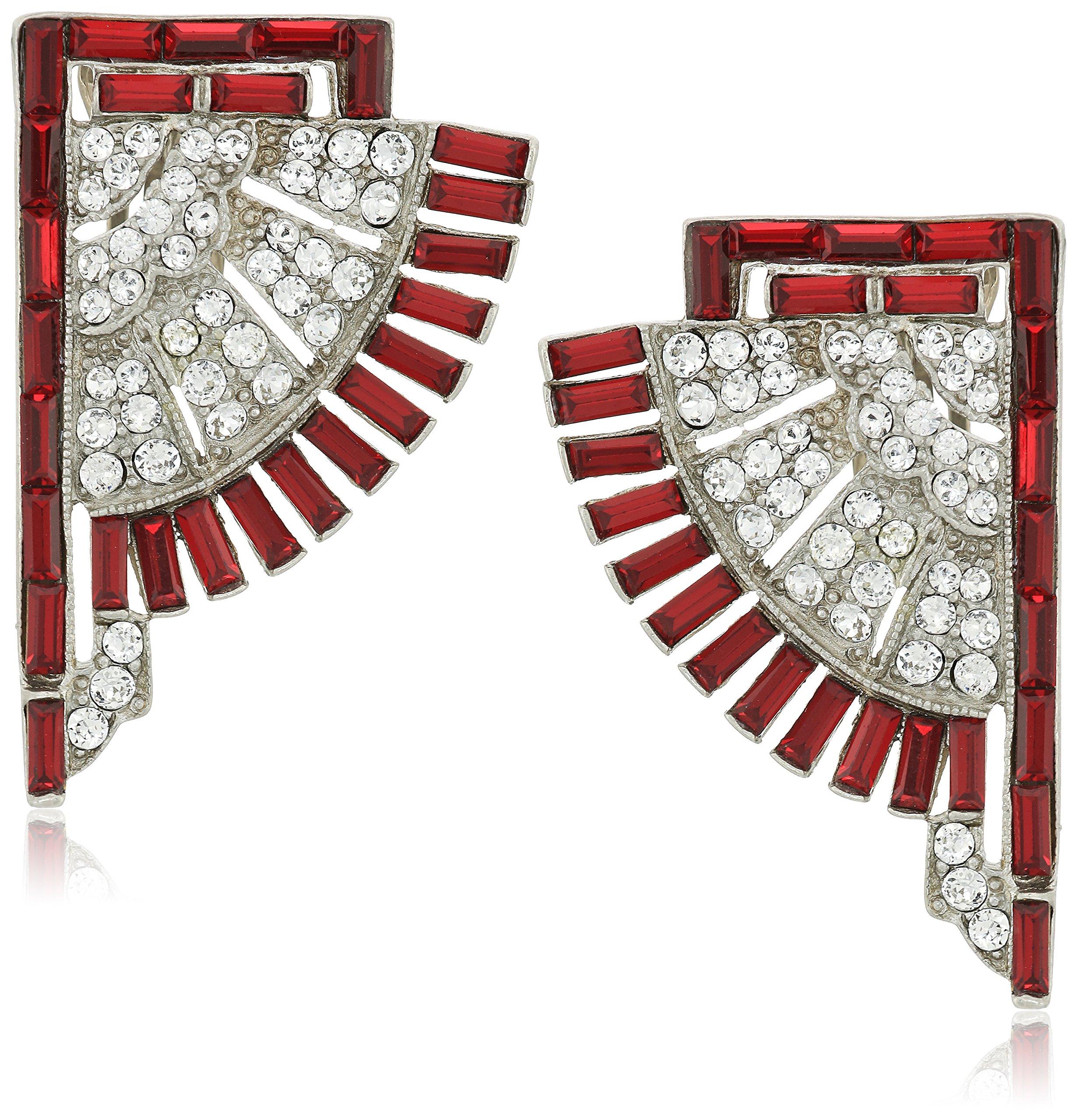 Ben-Amun Jewelry Swarovski Crystal Ruby Deco Fan Statement Clip On Earrings for Bridal Wedding Anniversary