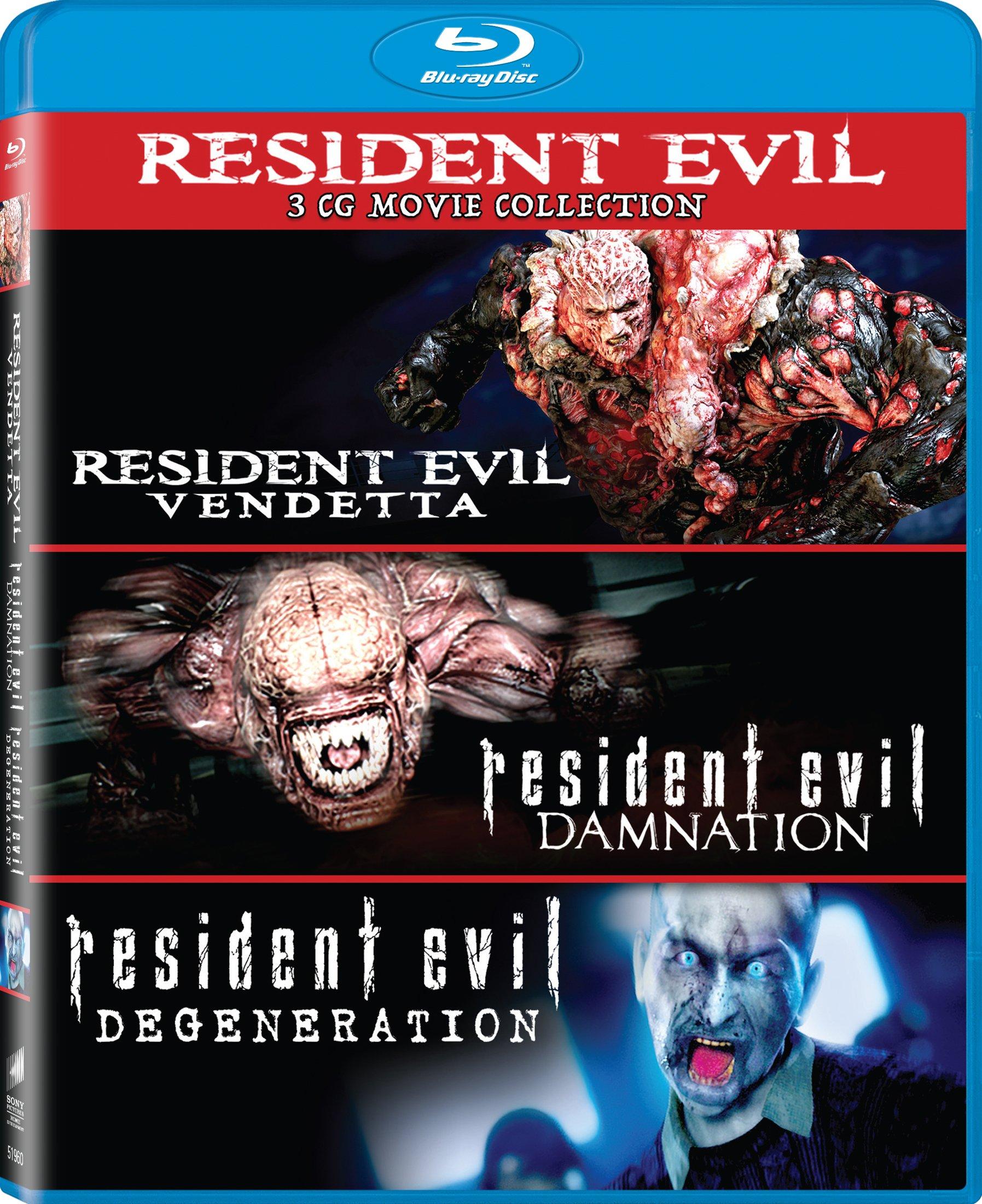 Blu-ray : Resident Evil: Damnation / Resident Evil: Degeneration / Resident Evil:Vendetta (Widescreen, Dolby, AC-3, , 3 Pack)