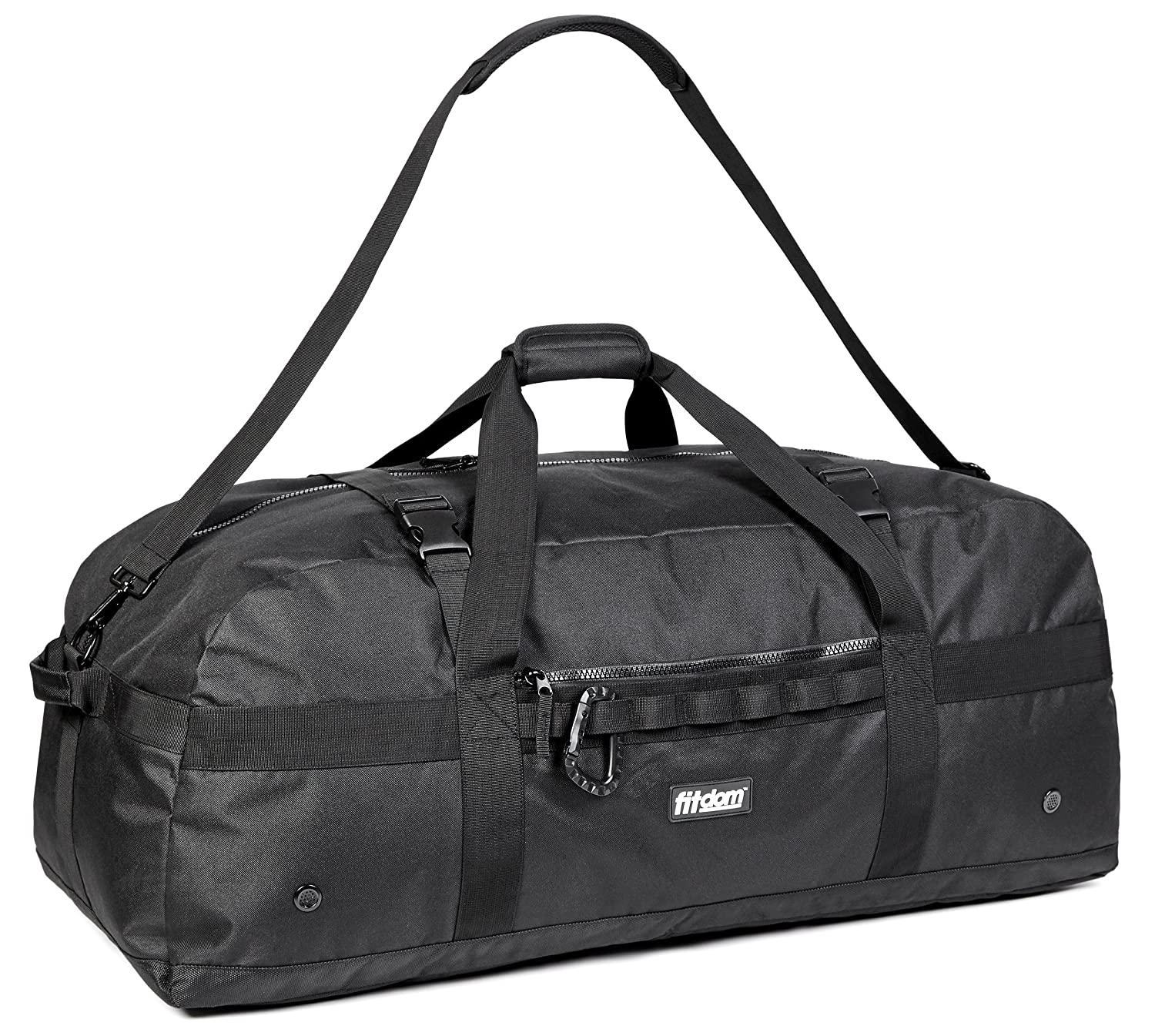 Heavy Duty Extra Large Sports Gym Equipment Travel Duffel Bag W/Adjustable Shoulder & Compression Straps. Perfect for Team Coaches, Best for Soccer, Baseball, Basketball, Hockey. Football & More Fitdom