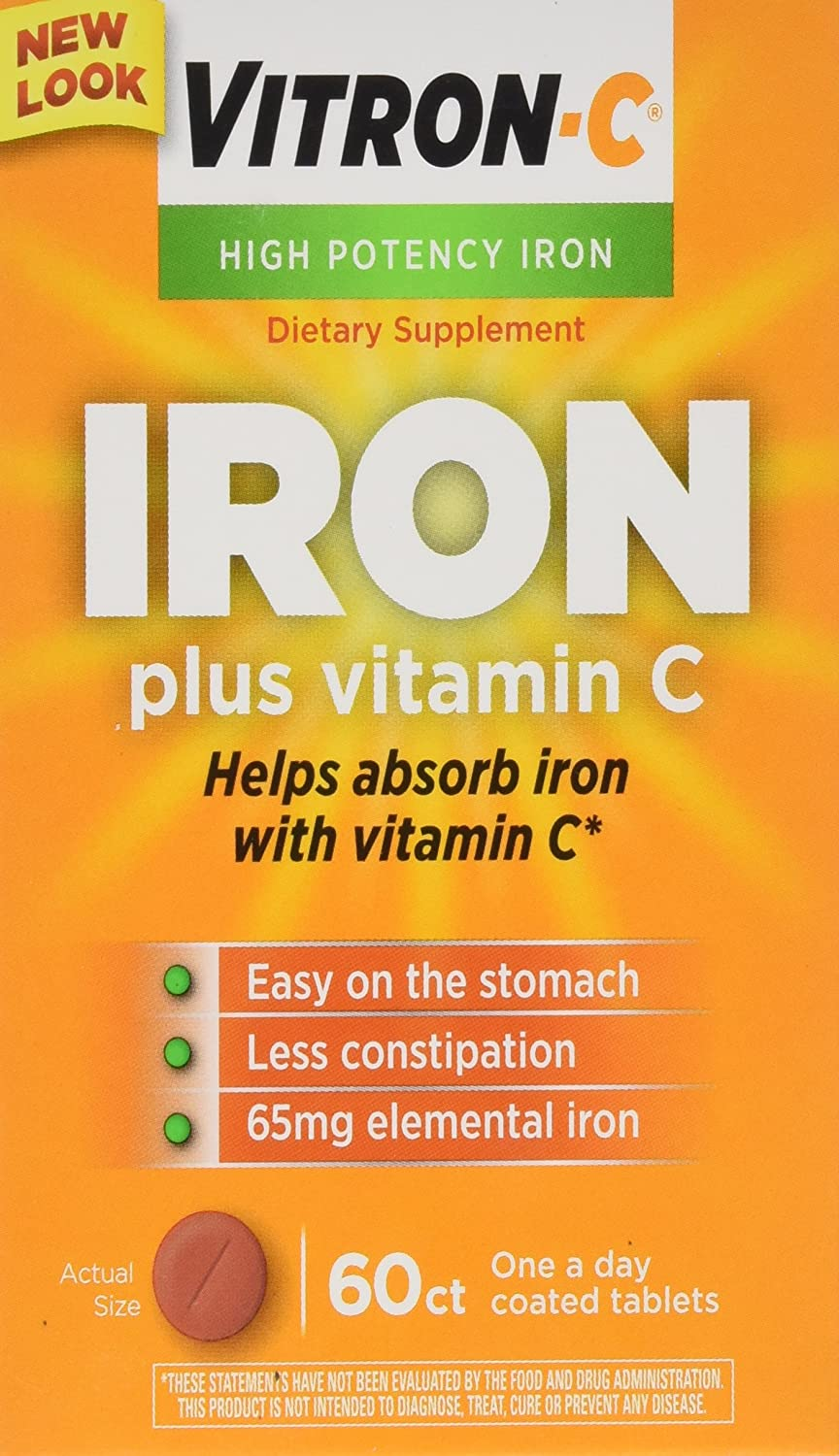 Amazon.com: Vitron-C High Potency Iron Supplement with Vitamin C, 60 Count: Health & Personal Care