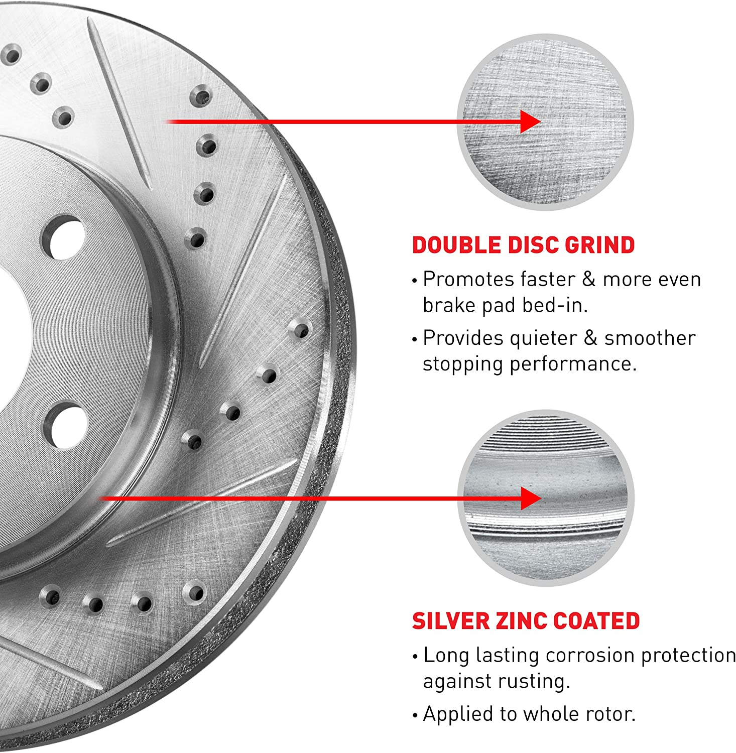 Front R1 Concepts KEDS10075 Eline Series Cross-Drilled Slotted Rotors And Ceramic Pads Kit