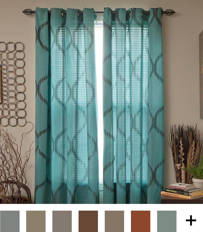 Lavish Home Metallic Grommet Curtain Panels Khaki 84-Inch