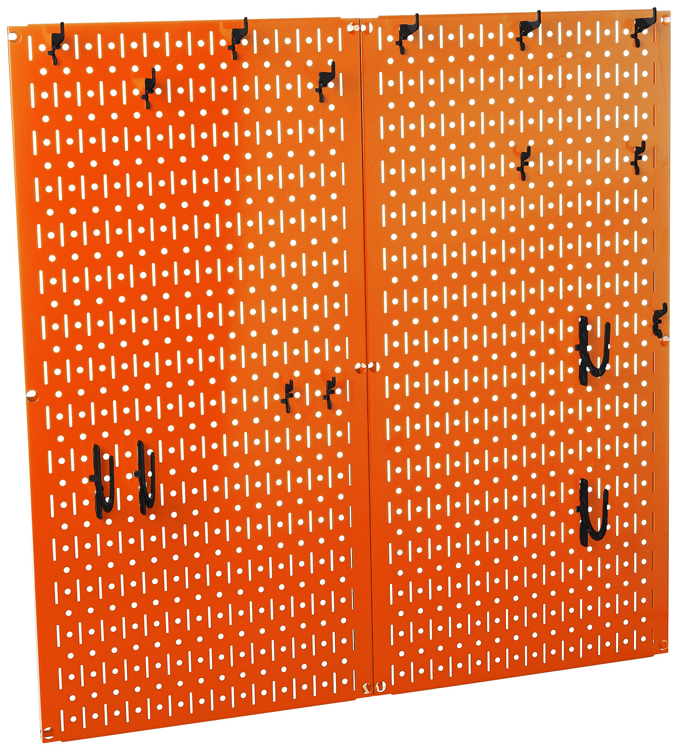 Wall Control 30-KTH-200 ORB Kitchen Pegboard Organizer Pots and Pans Pegboard Pack Storage and Organization Kit with Orange Pegboard and Black Accessories