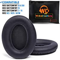 Wicked Cushions Premium Bose QC15 Headphone Replacement Ear Pads - Memory Foam Pads Adapt to Your Ears - Fits QuietComfort 15 / QC2 / Ae2 / Ae2i / Ae2w / SoundTrue & SoundLink (Over-Ear) | Black