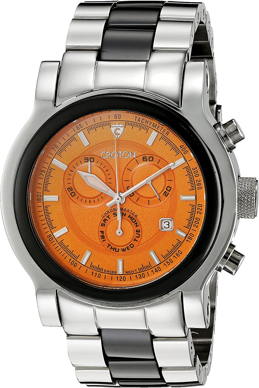 CROTON Men s CC311125BKOR Millenium Analog Display Swiss Quartz Two Tone Watch