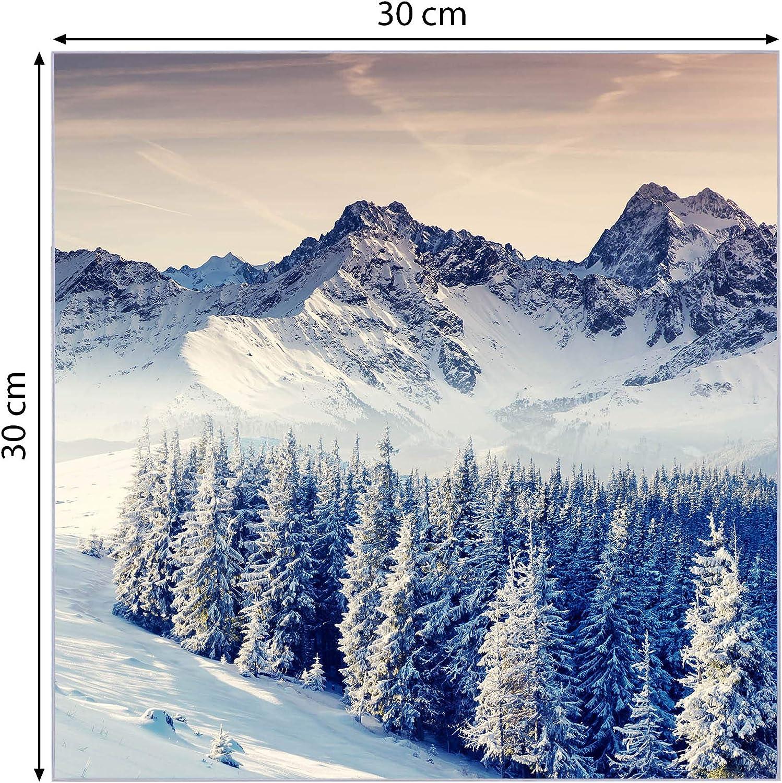 Pinnwand aus Glas magnetisch Memoboard mit 4 Magneten Glastafel mit Moitv Schneebedeckte Berge BANJADO Glas Magnettafel beschreibbar gr/ö/ße 30x30cm