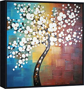 Wieco Art Framed Art Morning Glory Modern Abstract White Flowers Oil Paintings on Canvas Wall Art Floral Artwork for Living Room Bedroom Home Office Decorations Wall Decor FL1089-6060-BF