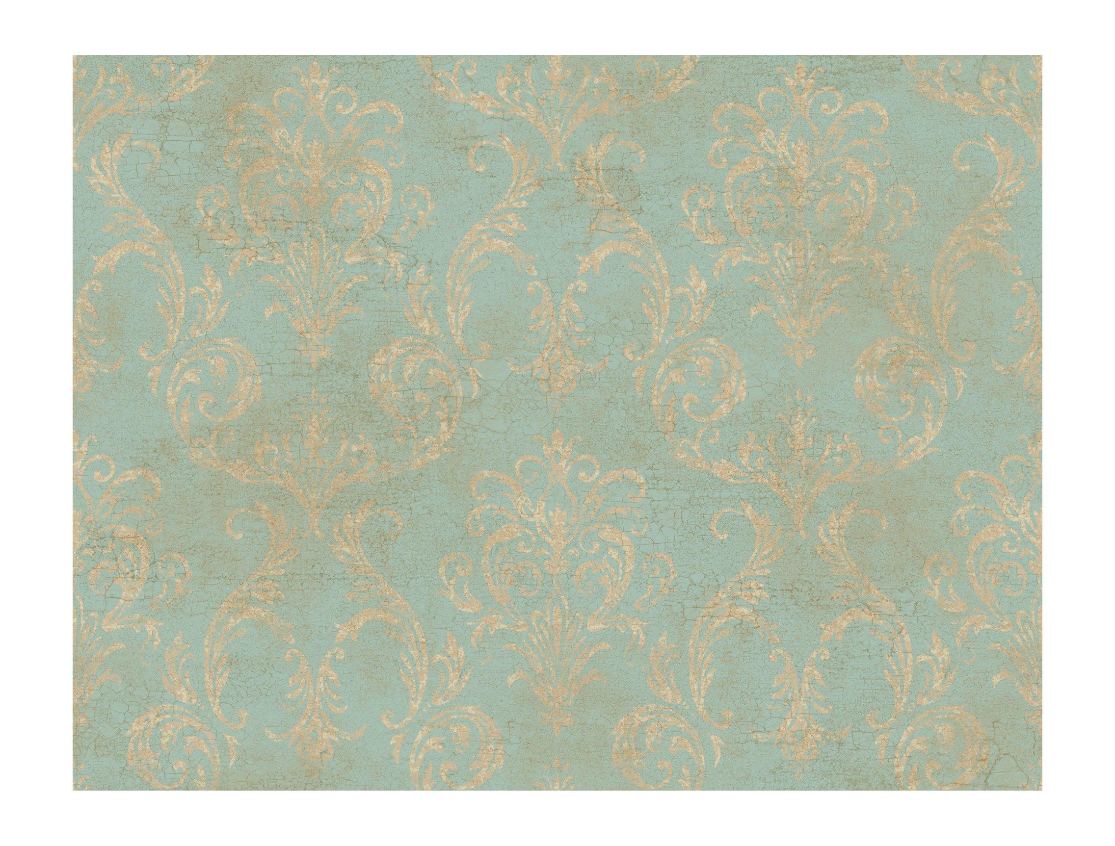 York Wallcoverings GL4656 Brandywine Delia Damask Wallpaper, Robin's Egg Blue/Bronze/Sand