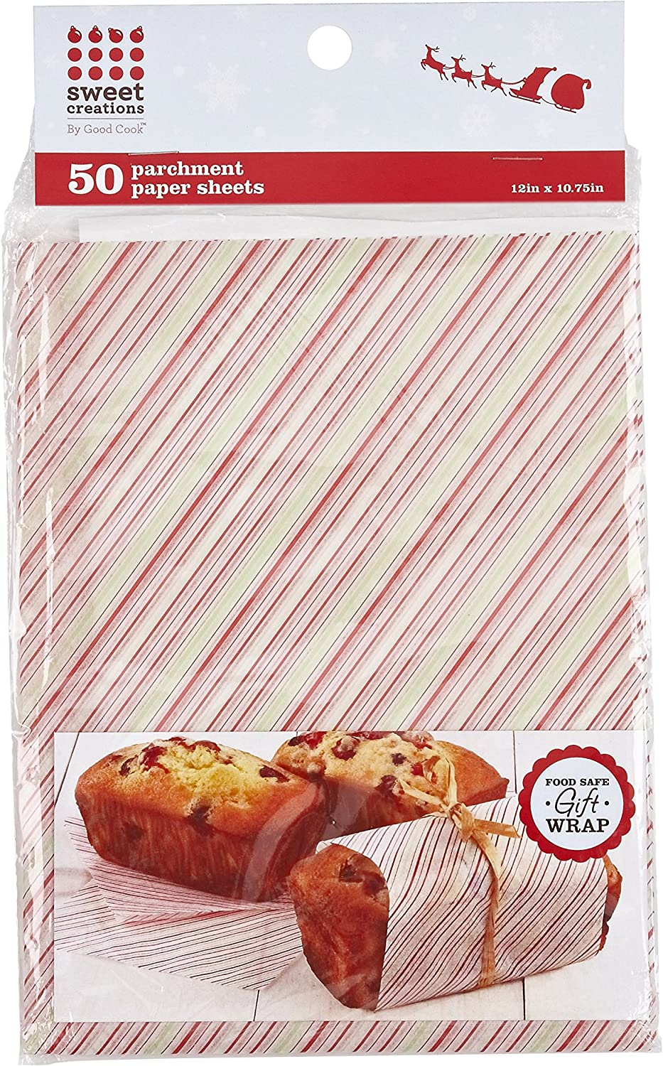 Sweet Creations Stripe Parchment Paper, 50-Piece, 12 x 10.75-Inch