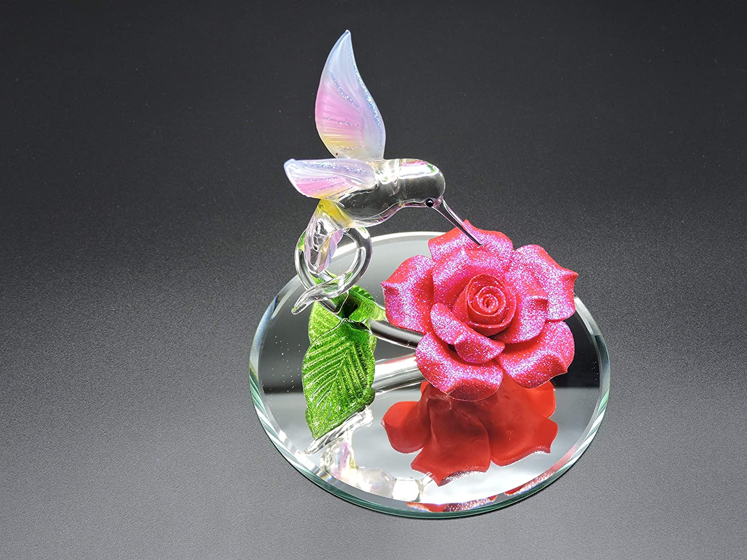 Handmade Blown Glass Hummingbird on a Red Rose Sweet Attraction