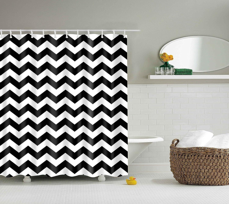 black white chevron shower curtain. Amazon com  DOTZ Chevron Shower Curtain Black and White Polyester Fabric 70 inch x includes 12 plastic shower rings Home Kitchen