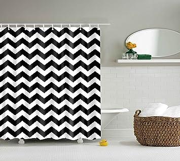 Amazon.com: DOTZ Chevron Shower Curtain - Black and White ...