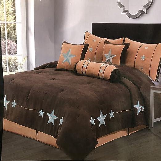 Comforter Western Texas 7 Piece Embroidery Bedding Luxury Star Queen King Set