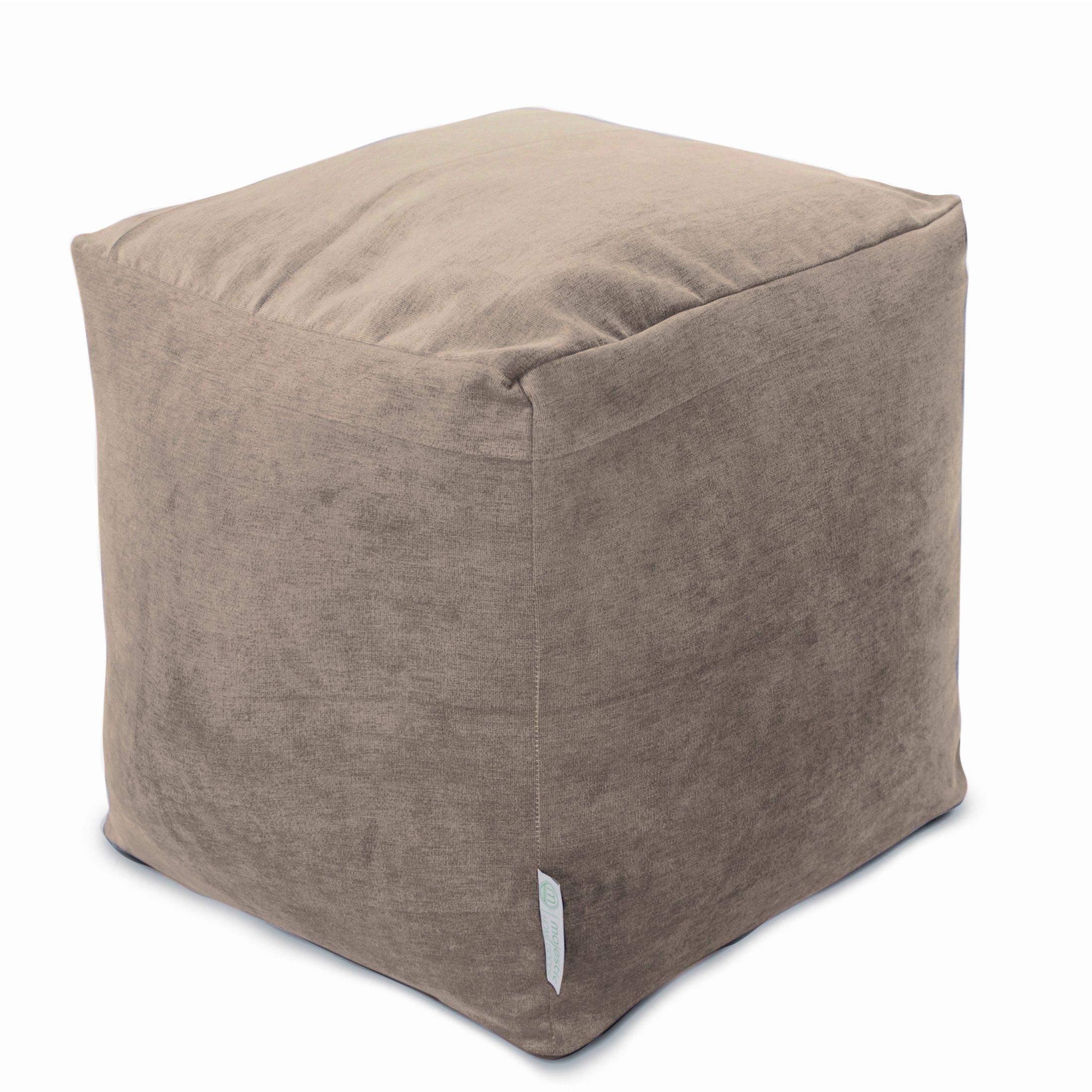 Majestic Home Goods Pearl Villa Indoor Bean Bag Ottoman Pouf Cube 17'' L x 17'' W x 17'' H